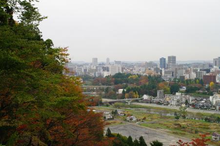 从仙台城遗址中看到的仙台市免费材料