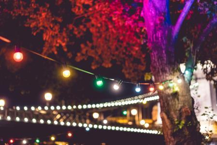晚上花园派对上的五颜六色的灯