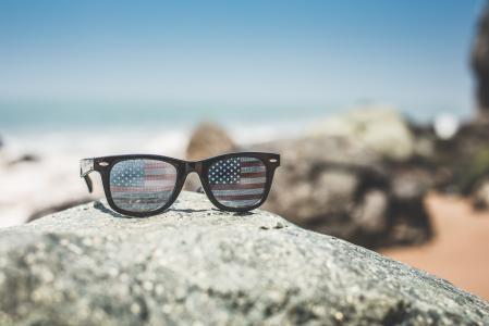 有趣的美国美国国旗复古太阳镜