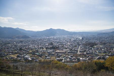 从Shinagurayama-sama浅间公园看到的富士吉田市免费照片股票