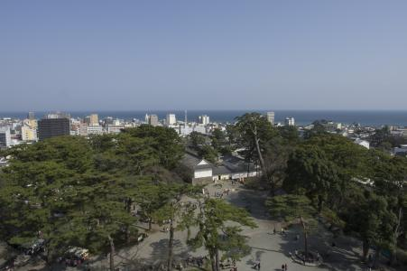 从小田原城堡城堡塔看到的相模湾免费照片股票