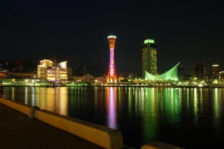 Meriken公园照片素材的夜景