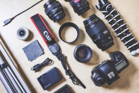 摄影师的单反相机设备