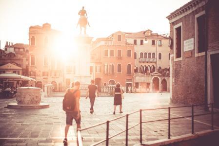威尼斯广场广场日落