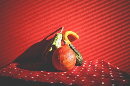 在红色的装饰南瓜