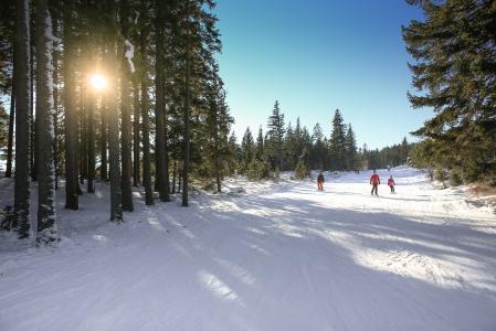 在明亮的天空下滑雪坡阳光明媚滑雪