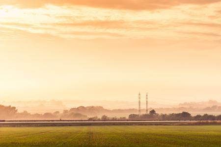 公路路和电主塔有雾的黄金小时