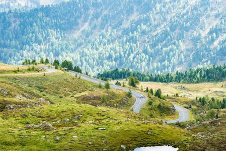 在奥地利自然的美丽的弯曲的路