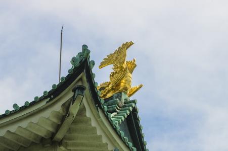 名古屋城堡金色白色照片素材
