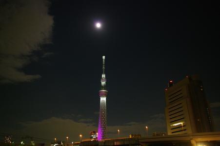 天空树夜景和月亮免费图片