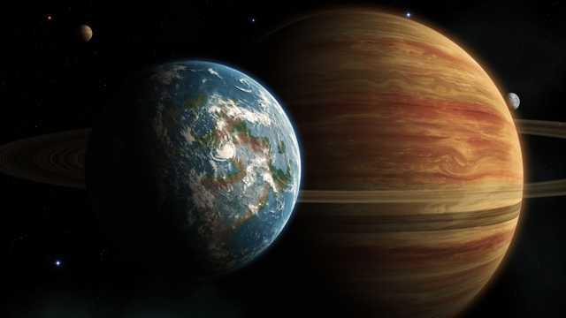 美丽的地球和木星