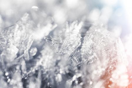 冻结的雪花冬天白霜结晶关闭