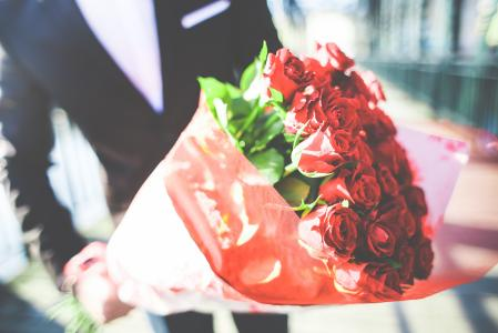 Gentleman Holding a Bouquet of Roses #2