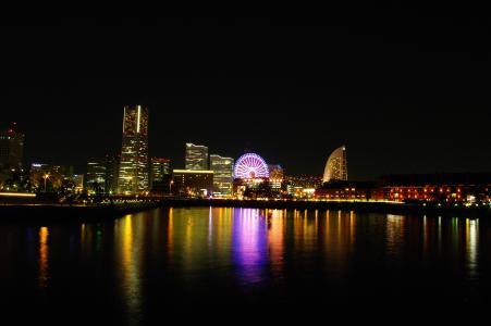 从大象鼻子公园看到的横滨夜景免费照片