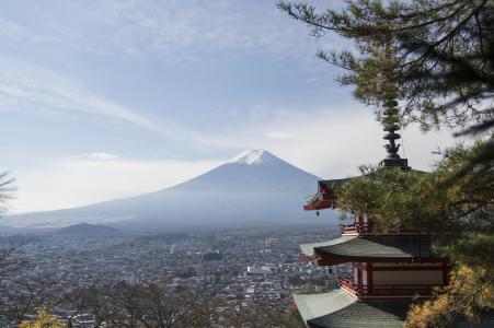 新仓山浅间公园免费精神塔和富士山免费图片