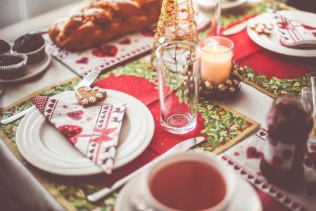 可爱的圣诞早晨早餐