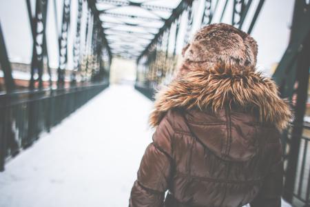 冬季时尚大衣的女孩