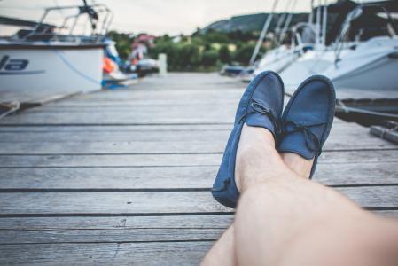 蓝色皮船船鞋