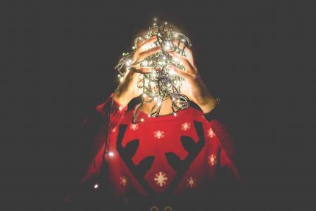 纠结的圣诞灯,而不是我的头