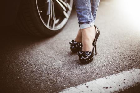 Woman in Black High Heels Standing Next to a Car #2