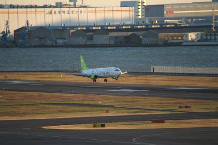 飞机降落(羽田机场)。免费照片。