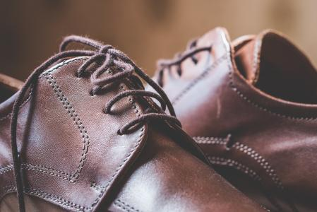 Brown Leather Shoes Shoelaces Close Up #2