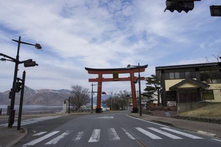 在Chuzenji湖附近的路免费库存照片