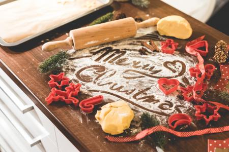 快乐圣诞食品字样在面粉中