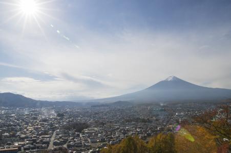 富士山和太阳免费股票照片